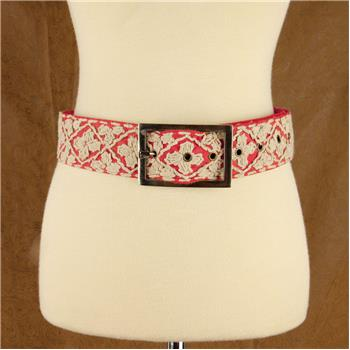 GLOBAL COLOR HAND EMBROIDERED BELT CORAL M/L (S16)