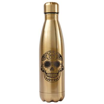 SUGAR SKULL WATER BOTTLE GOLD (S17)